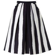 Hobbs Invitation Galindo Striped Skirt, Navy/Ivory ($54) found on Polyvore