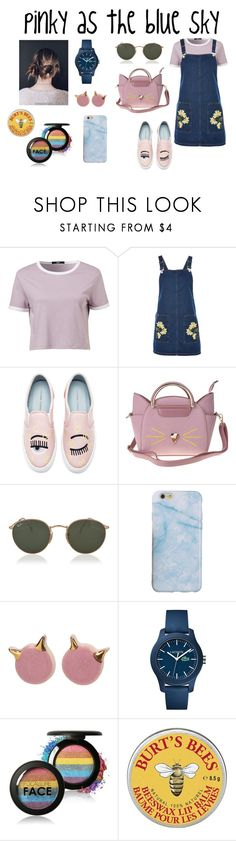 """""""Pinky as the blue sky"""" by mathildepl07 on Polyvore featuring mode, Topshop, Chiara Ferragni, Ray-Ban, Lacoste et Burt's Bees"""