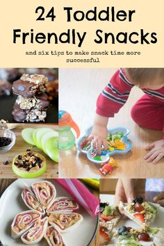24 Toddler Snack Ideas 24 delicious and easy toddler snack ideas, as well as tips on how to make snack time easier! Easy Toddler Snacks, Baby Snacks, Toddler Lunches, Lunch Snacks, Toddler Food, Toddler Dinners, Toddler Recipes, Baby Foods, Baby Food Recipes