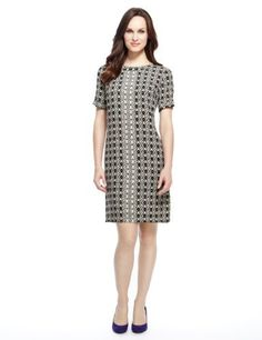 M&S Collection Geometric Print Tunic Dress - Marks & Spencer