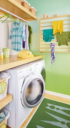 lots of good ideas here; stenciled rug, counter and shelf over washer and dryer, could use pieces of crib as drying rack.