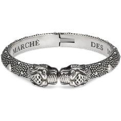 Gucci Le Marché Des Merveilles Tiger Head Bracelet ($980) ❤ liked on Polyvore featuring jewelry, bracelets, silver, studded jewelry, gucci, chains jewelry, gucci jewelry and hinged bangle