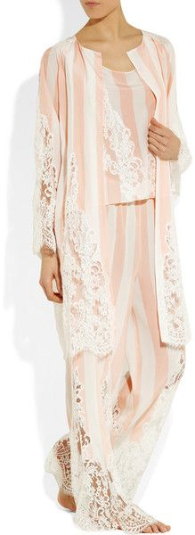 Rosamosario Lavvocato Striped Silk and Chantilly Lace Pajama Pants in Pink   Lyst