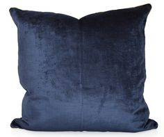 $98 22x22 Avosetta Home Navy Velvet pillows www.avosettahome.com Sapphire velvet with white gold cording is a truly regal combination. This jewel of a pillow is both striking and distinctive... just the way we like it.