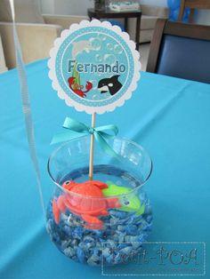O fundo do mar foi o tema escolhido pela mãe Roberta para o Chá de Bebê do Fernando.                                        A equipe do Dudu... Under The Sea Theme, Under The Sea Party, 1st Birthday Parties, 2nd Birthday, Coca Cola Mini, Shark Party, Party Activities, Mermaid Birthday, Baby Shark