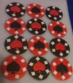 Fondant Casino Poker Chips - Hearts  and Diamond Topper -