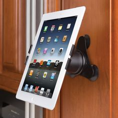 This is the iPad holder that mounts to any vertical or horizontal surface...need one of these for when I am cooking! http://amzn.to/2stgo2U