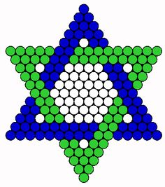 Blue Jewish Star Of David Perler Bead Pattern / Bead Sprite Melty Bead Patterns, Kandi Patterns, Hama Beads Patterns, Beading Patterns, Perler Bead Designs, Perler Bead Art, Pearler Beads, Fuse Beads, Jewish Crafts