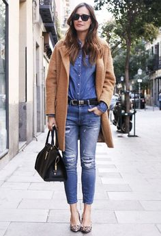 It doesn't get any more classic than denim-on-denim and a camel coat