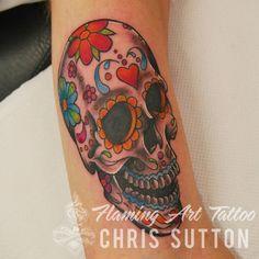 #sugarskull #candyskull #dayofthedead #skull #colour #tattoo #tattoos #custom #design #art #artist #tattooartist #illustration #london #england #chrissutton