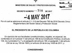 Decreto 718 del 04 de Mayo del 2017