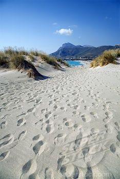 Footprints on the beach, Falassarna, Chania, Crete, Greece