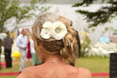Ivory Cluster Birdcage Veil Ivory Flower by Made4YouBoutique