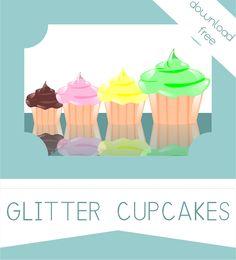 Colección Glitter Cupcakes. Descarga gratuita. Formato PNG con fondo transparente. Libre de derechos.
