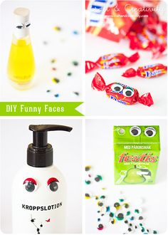 diy funny faces, from the craft & creativity site Fun Crafts For Kids, Craft Activities For Kids, Cute Crafts, Diy For Kids, Googly Eye Crafts, Kids Things To Do, Perfume, Diy Funny, Funny Faces