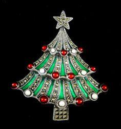 RARE Vintage Judith Jack Marcasite Enamel Holiday Christmas Tree Brooch Pin