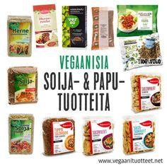 Soijasta ja muista palkokasveista jalostetut kuivatuotteet ovat hyviä kasviperäisen proteiinin lähteitä, käteviä käyttää ja säilyttää. Ne säilyvät pitkään, eivät vaadi kylmäsäilytystä, ja voidaan maustaa mielen mukaan. Kuvassa myös muutama valmiiksi maustettu pakastesoijarouhe.  Lisäksi kaikki kuivana sekä säilykkeenä myytävät pavut, linssit ja herneet ovat vegaanisia.   http://www.vegaanituotteet.net/valmisruuat/soijaruoka