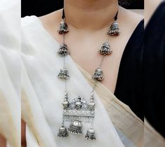 Your place to buy and sell all things handmade - Schmuckideens Gold Jewelry Simple, Stylish Jewelry, Boho Jewelry, Fashion Jewelry, Jewelery, Indian Jewelry Sets, Silver Jewellery Indian, Silver Jewelry, Silver Choker