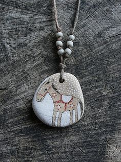 Beach Stone Horse Necklace by LillaJizo on Etsy