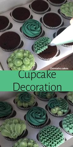 Cupcake Decorating Tips, Cake Decorating Frosting, Creative Cake Decorating, Cake Decorating Techniques, Creative Cakes, Cookie Decorating, Decorating Ideas, Succulent Cupcakes, Garden Cupcakes