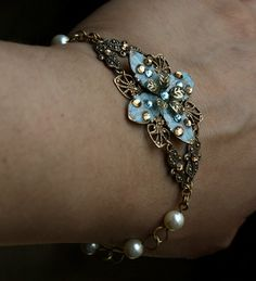 Bridal set bracelet blue bridesmaids jewelry pearl by AmberSky, $68.50