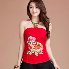 Gorgeous Flower Embroidery Oriental Halter Top - Red - Chinese Shirts & Blouses - Women