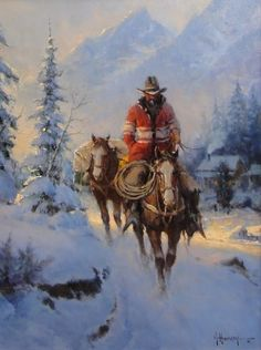 7/28/14  5:00p  Riding Horseback Snowy Mountain Trail  by G. Harvey   Astoria Fine Art Gallery in Jackson Hole Wy astoriafineart.com