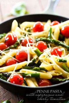 Penne Pasta with Asparagus and Cherry Tomatoes... this recipe is super light…