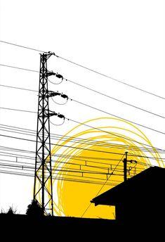 fumitake uchida Japanese Art Modern, Pop Art, Urban, Places, Illustration, Color, Dibujo, Lugares, Colour