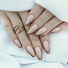 elegant nail design french Elegant Nail Designs, French Manicure Designs, Almond Nails Designs, Elegant Nails, Fall Nail Designs, Stylish Nails, Acrylic Nail Designs, Fall Almond Nails, Classy Almond Nails