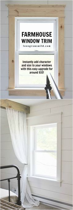 DIY:  How to Trim Out Windows and Doors - get a farmhouse look with this easy and inexpensive project - via Love Grows Wild Interior Window Trim, Farmhouse Interior Doors, Farmhouse Style Curtains, Diy Exterior Window Trim, Farmhouse Renovation, Craftsman Window Trim, Farmhouse Curtain Rods, Diy Interior Doors, Outdoor Window Trim