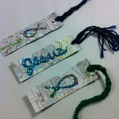 Perseverance bookmarks   Through all paths in life, Jesus will shine through.   Simple craft at camps. I cut up strips of maps (free at AMA) and the kids glued them on, added a braided tail and glitter representation of Jesus shining through. They loved this craft! I loved the price!