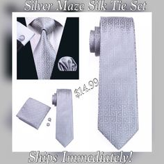 "This is brand new men's silk tie set.  The set includes a coordinating tie, pocket square (handkerchief) and cuff links.    Tie length is 61"" from end to end, and 3.25"" width at the widest part of the tie.     Ships Immediately! Makes a great gift. 📦 