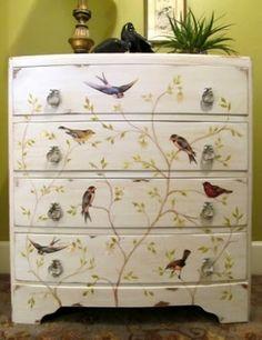 Mod Podged bird dresser by rosella
