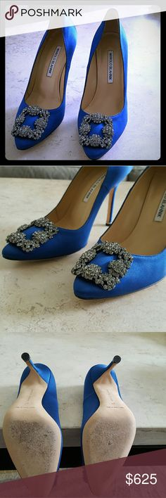"""MANOLO BLAHNIK Hangisi Jeweled Blue Satin Pumps The popular Hangisi or Sex and the City wedding shoes can be yours!  Timeless shape of elegant satin, finished with a luminous jewel embellishment. Self-covered heel, about 4"""" (105mm) Satin and crystal-embellished upper are in excellent condition Leather lining and sole Padded insole Perfect wedding choice for the bride or bridesmaid Worn only once for wedding Scuff marks on sole from wear, no snags, pulls or marks on the shoe fabric Comes with…"""