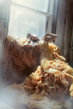 Layers of Golden Ruffles fashion photography gold model gown ruffles