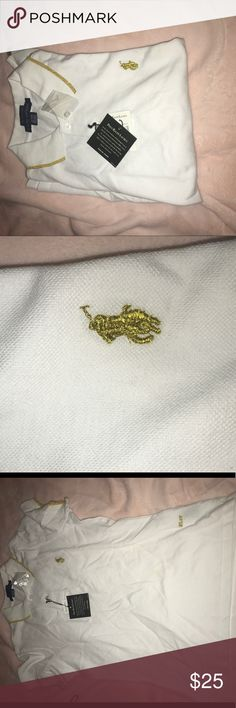NWT Polo White and gold polo shirt ✨ NWT Polo by Ralph Lauren Tops Button Down Shirts