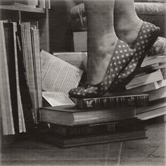 A shoe on the book