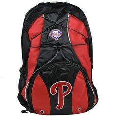 MLB Philadelphia Phillies Darth Backpack, Red by Concept 1. $32.99. Reflective Piping. 100% nylon. Front bungee cord. Rubber headphone outlet. The Darth backpack offfers space and multiple compartments to fit all of your belongings.  Convenient for the gym, a weekend getaway or everyday use.. Save 20% Off!