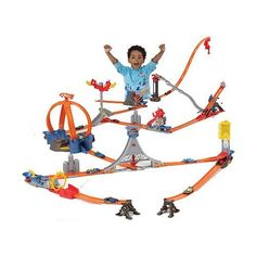 Hot Wheels Trick Tracks Ultimate Stunt World Play Track Set by Mattel. $249.99. Great Gift for Collectors and Kids. Create your own world of Trick Tracks stunts with this colossal combo pack that has 11 awesome stunts, including the Power Loop, Drop Tower, Spiral Spin-Out, Zigzag Slide, Freefall Drop, Mini Slide and Flame Launch! Also comes with 14 pieces of track, 10 cars, 2 exploding fuel tanks, 2 jump ramps and a gravity clamp! Power Loop stunt requires 2 D alkaline ba...