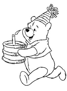 winnie the pooh coloring pages - bing images | coloring- disney ... - Pooh Bear Coloring Pages Birthday