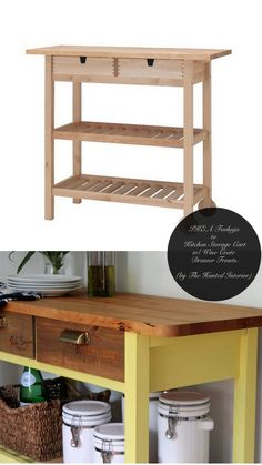 Ikea hacks, love it. 10 Totally Ingenious, Ridiculously Stylish IKEA Hacks // Live Simply by Annie Ikea Hacks, Diy Hacks, Furniture Projects, Home Projects, Furniture Movers, Furniture Companies, Ikea Forhoja, Kitchen Storage Cart, Ikea Kitchen Cart
