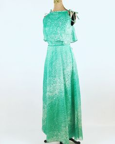 a2b7be0bb0 1970s Maxi Dress by House of Bianchi - Vintage Green Chiffon Maxi Dress -  Vintage Bridesmaid - Wedding - Prom - Garden Party - Cocktail Gown