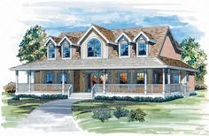 Farmhouse House Plan with 3141 Square Feet and 4 Bedrooms(s) from Dream Home Source | House Plan Code DHSW03963
