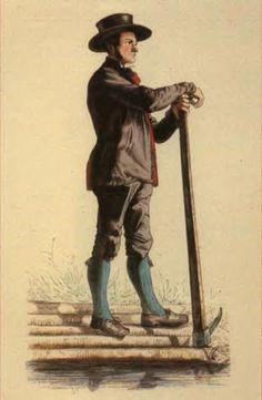 Flößer aus Rippoldsau - Die Badischen Landleute Trachten und Bräuche in Schwartzwald, Charles L'allemand, 1860 #Schapbach