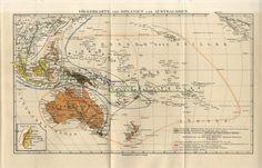 1895 Oceania Australia New Zealand People Types Races Antique Map | eBay