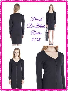 Diesel D-Blair-A Dress in black:  Scoop neck, long sleeves, zip/zipped opening.   Overlay Background 65% Viscose-Rayon, 30% Polyester, 5% Elastane  Available size XS-L