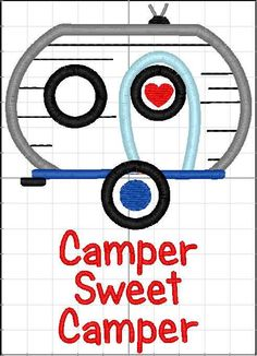 Camper Sweet Camper- Camper Towel- Embroidered Kitchen Towel- Camper Gift- Vintage Camper- Vintage Camper Collectible- Custom Embroidery by ShesSewVain on Etsy