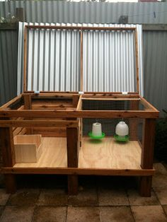 Brooder-I make these out of rabbit hutches. I have sides that screw on and off for weather changes. And the pan that goes under the floor I put inside, so I can wash it out.