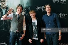 Actors James Phelps, Rupert Grint and Oliver Phelps attend 'Harry Potter and The Deathly Hallows Part 2' premiere at Kinepolis Cinema on June 27, 2011 in Madrid, Spain.